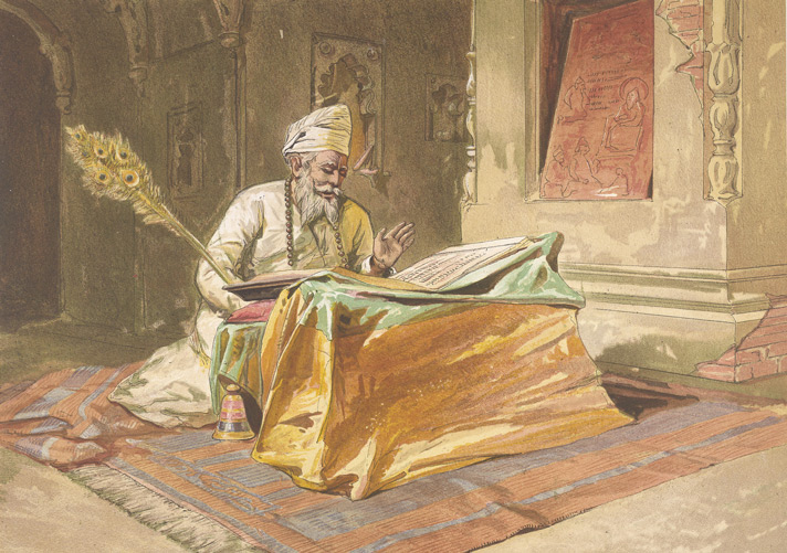 Sikh priest reading the Grunth, Umritsur